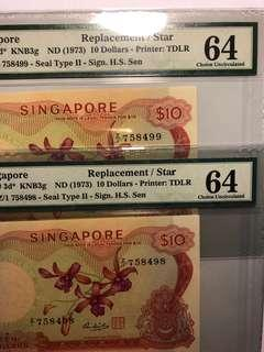 1 pair of Singapore Orchid $10 HSS w/seal Z/1 prefix Replacement notes PMG 65 Choice UNC