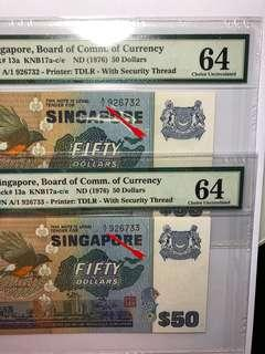 1 pair of Singapore Bird series $50 A/1 First Prefix PMG 64 Choice UNC