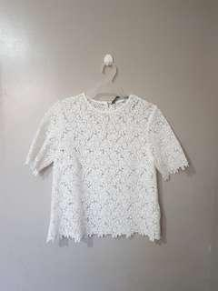 Zara white lace top