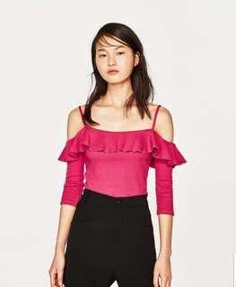 Zara fuschia semi cropped top