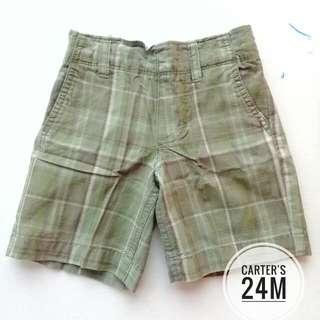 CARTER'S BOYS SMART CASUAL SHORTS SIZE 24M (ARMY GREEN)