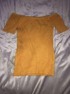 Off the shoulder mustard yellow top