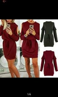 Women Sexy Round Neck Off Shoulder Longsleeve Mini Dress (Ships in 10days)