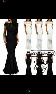 Lady Lace Sexy Off Shoulder Maxi Fishtail Dress (Ships in 12days)