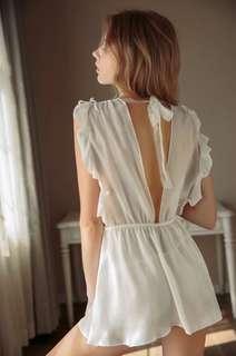 🚚 Nightdress Babydoll slip 2piece set-white