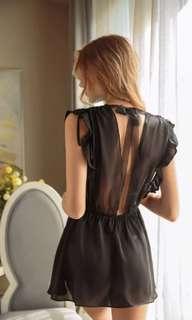 🚚 Nightdress Babydoll slip 2piece set-Black