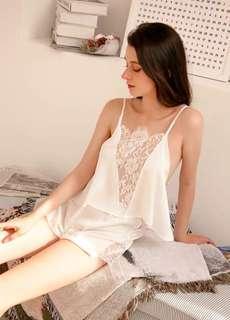 🚚 V Lace Chopped Top sexy shortie pyjamas 2 piece set-white
