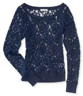 🚚 Zalia Sheer Long Sleeve Lace Top from Aeropostale