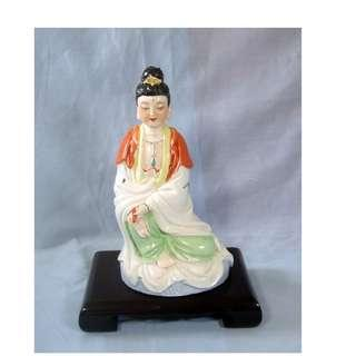 Vintage hand crafted porcelain Kwan Yin Goddess Of Mercy statue circa 1950s
