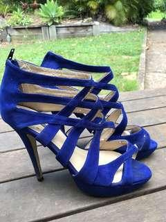 Tony Bianco suede royal blue heels size 9