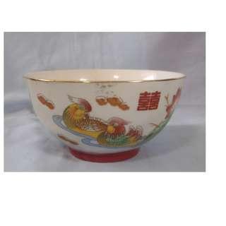 Vintage Chinese porcelain bowl mandarin ducks lotus double happiness motif 1960s