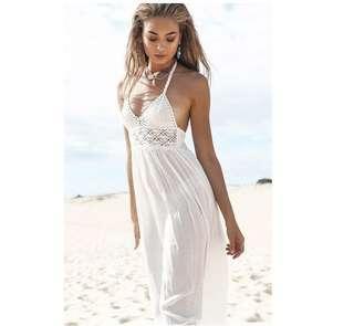 Sexy crochet lace backless maxi dress