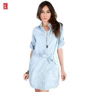 Mini Dress Chambray Size S M L