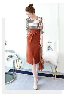 Jumpsuit dungaree thin strap skirt with ribbon bow