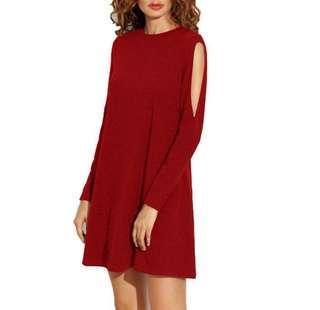 Solid colour cold shoulder swing skater dress