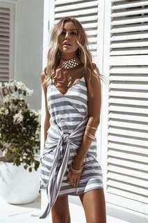 V neck stripes cami dress front knot