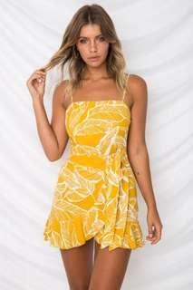 Tropical pineapple printed ruffle wrap cami dress