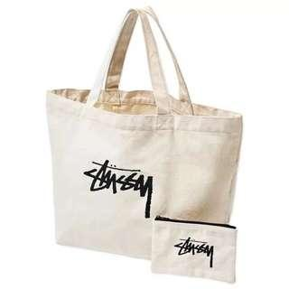 Stussy Canvas Tote Bag & Pouch Set
