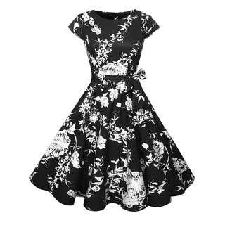 Floral print monochrome cocktail swing flare dress