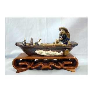 Antique Shiwan fine ceramic mudman fisherman birds boat circa 1940s retired