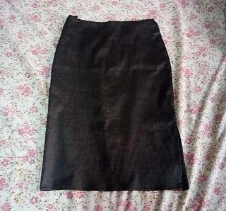 Gunmetal Gray Pencil Office Skirt