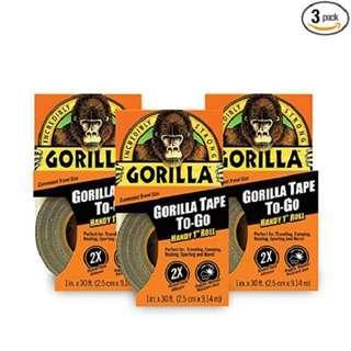 "Gorilla Tape, Mini Duct Tape To-Go, 1"" x 10 yd, Black, 3 Pk"