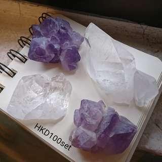 白水晶紫水晶原石冥想把玩