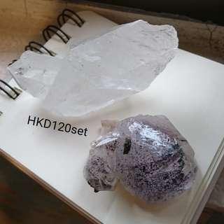 白水晶紫水晶碧璽雲母山原石冥想把玩