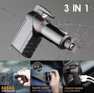 3in1 USB Car Charger Belt Cutter Emergency Glass Breaker