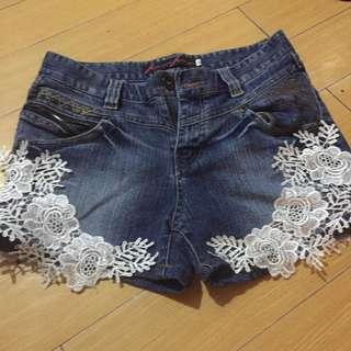 Maong Shorts with lace