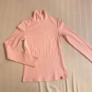 PINK COTTON TURTLENECK FITS S (STRETCHABLE)