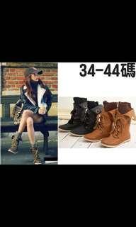 大尺碼 黑44 韓版 筒口毛線 反折中筒靴