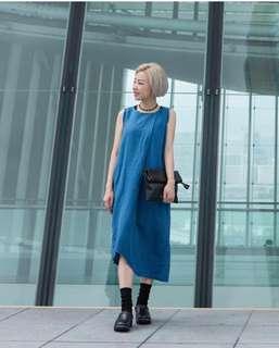 Initial 藍色 麻質 連身背心裙