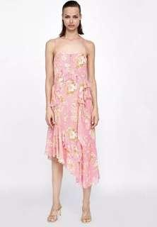 Authentic Zara Frilled Asymmetric Dress Pink Floral