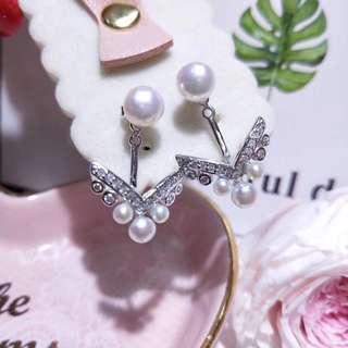 S925天然淡水珍珠耳環