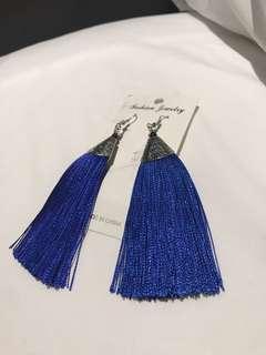 Royal blue tinsel earrings
