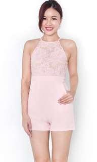 Pandora Rosette Lace Romper Pink