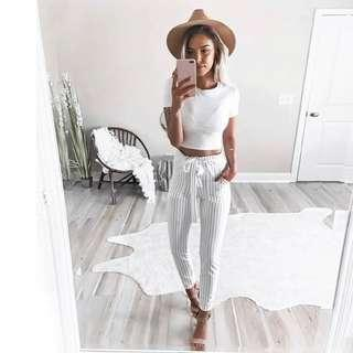 White Striped Trouser Pants