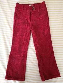 Guess Jeans Printed Corduroy Red Pants
