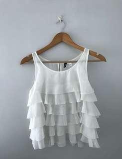 H&M white ruffle sleeveless top
