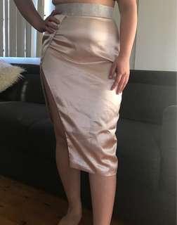 Women's meshki style elegant satin nude embellished waistline skirt size 12