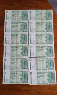 香港:渣打銀行:紙幣 :全部1994年:共12張