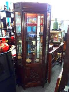 Rosewood Display Cabinet. 6ft