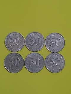LOT OF 6 MALAYSIA 50 CTS, 3 X 1967 & 3 X 1973, USED