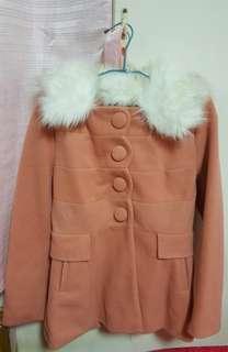 🚚 素色大衣外套 M號 可拆式領子