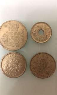 西班牙錢幣四個(不同年份不同幣值)