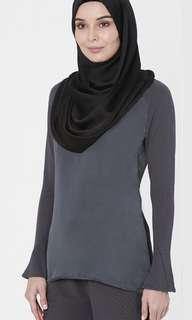 Love to Dress (LtD) Raglan top with Flared Sleeve in Grey size S UK8