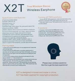 Earphone wireless X2T