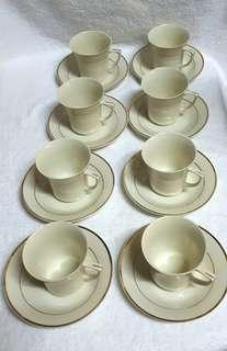 ☇VINTAGE BUD LET Fine China Ivory Coffee set☇