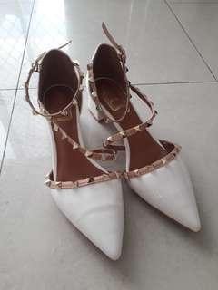 White studded patent leather block heels